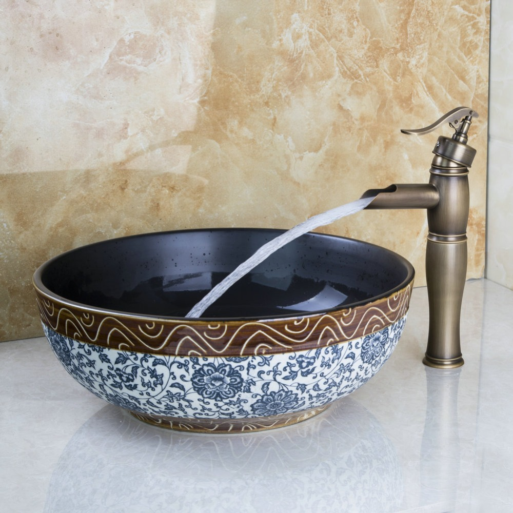 Best wash basin faucet set tranditional design bathroom ceramic round sink bacia antique brass - Designer sink image ...