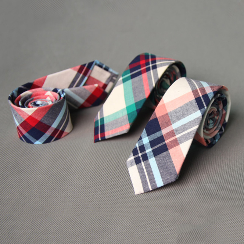 2016 Fashion Casual Cotton font b Plaid b font Striped Mens Ties for Men 6CM Narrow