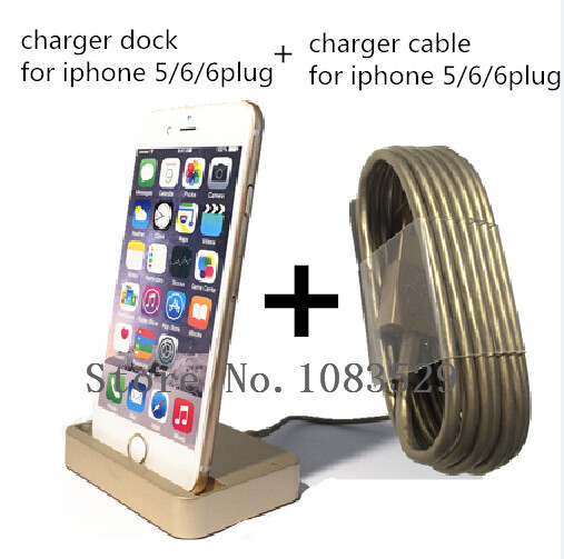2in1 GOLD Original Charger Dock For Apple Iphone 6 6 plug 5 5s 5c iPod Touch 5 Nano 7 + 8 pin Smart Chargering Cable perfect(China (Mainland))