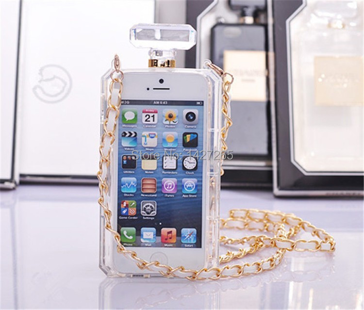Promotion! Hot Luxury Channel Perfume Bottle Case for iPhone 4 4s 5 5S 5c 6 6 Plus Samsung S4 S5 S6 Note 2 3 4 Transparent Black(China (Mainland))