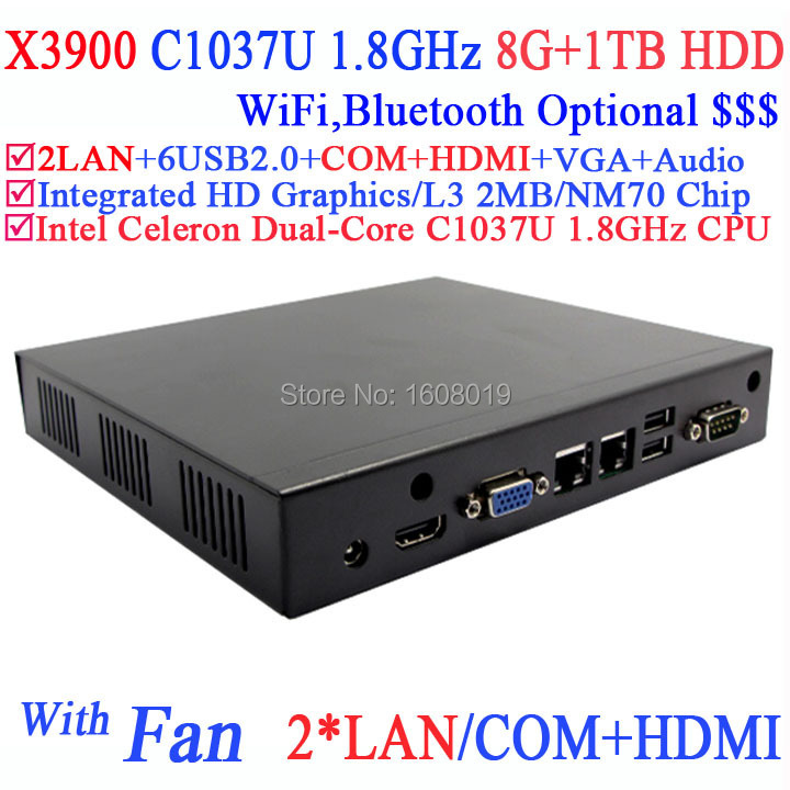 mini gaming pc with fan 2 Nics HDMI COM INTEL C1037U dual core 1.8Ghz CPU 8G RAM 1TB HDD Windows Linux 3D API support DirectX 11(China (Mainland))