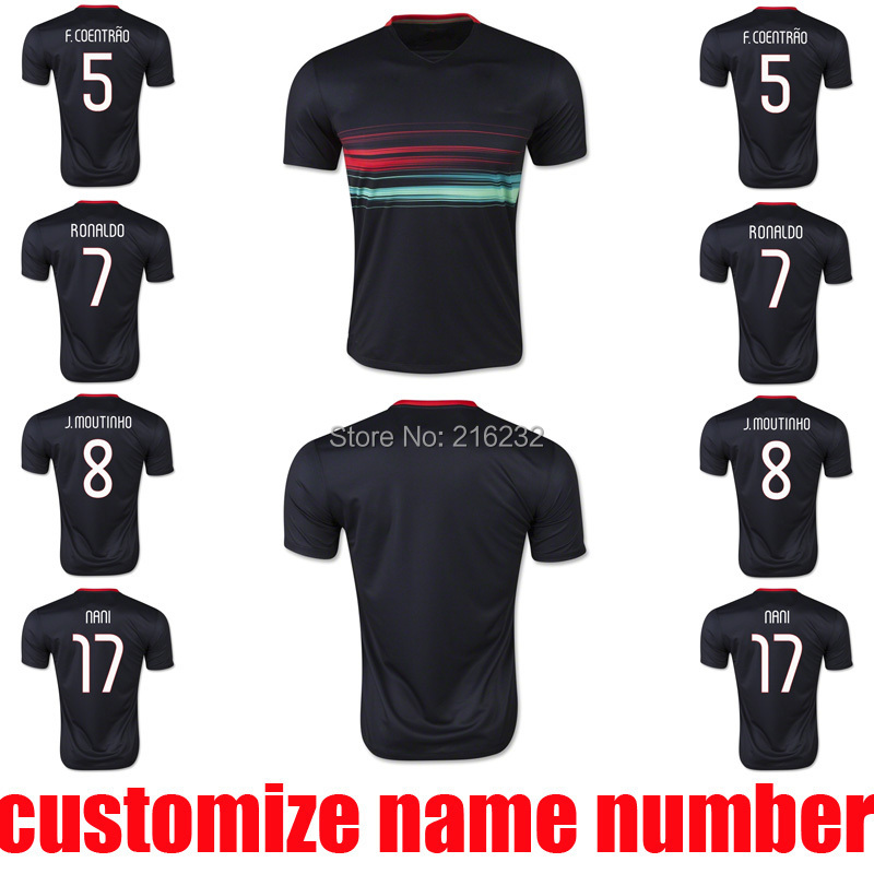 2015 RONALDO away soccer jerseys thai quality 15 16 RONALDO NANI F COENTRAO J MOUTINHO football uniform t shirt(China (Mainland))