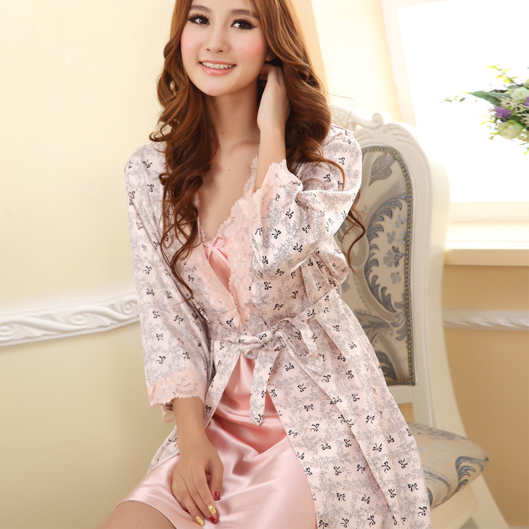 Robes Sleepwear Women Robes Sexy Sleepwear Suit Nightgown Dress Rayon Silk Babydolls Y001