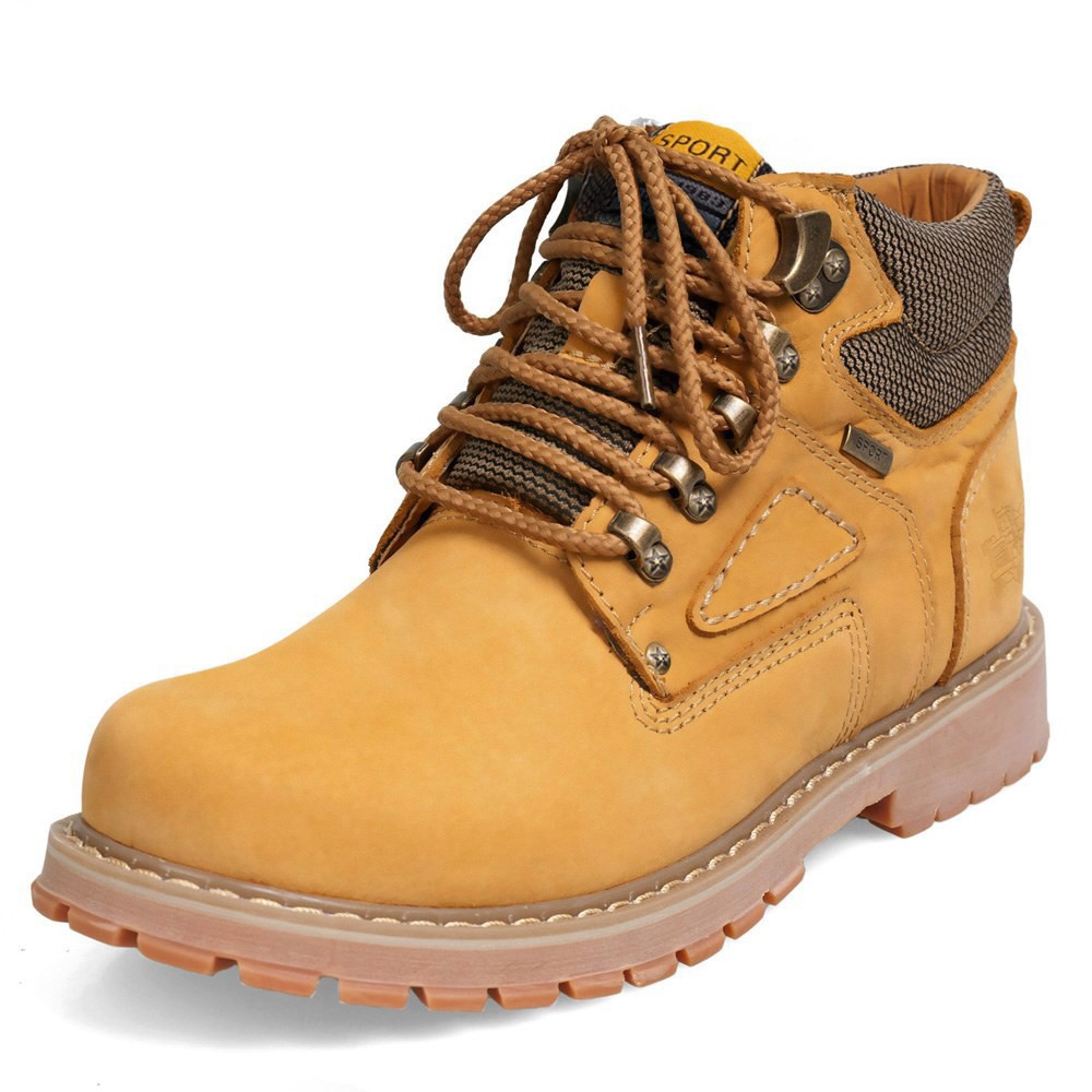 Work safety ankle boots men genuine leather combat mens high heels
