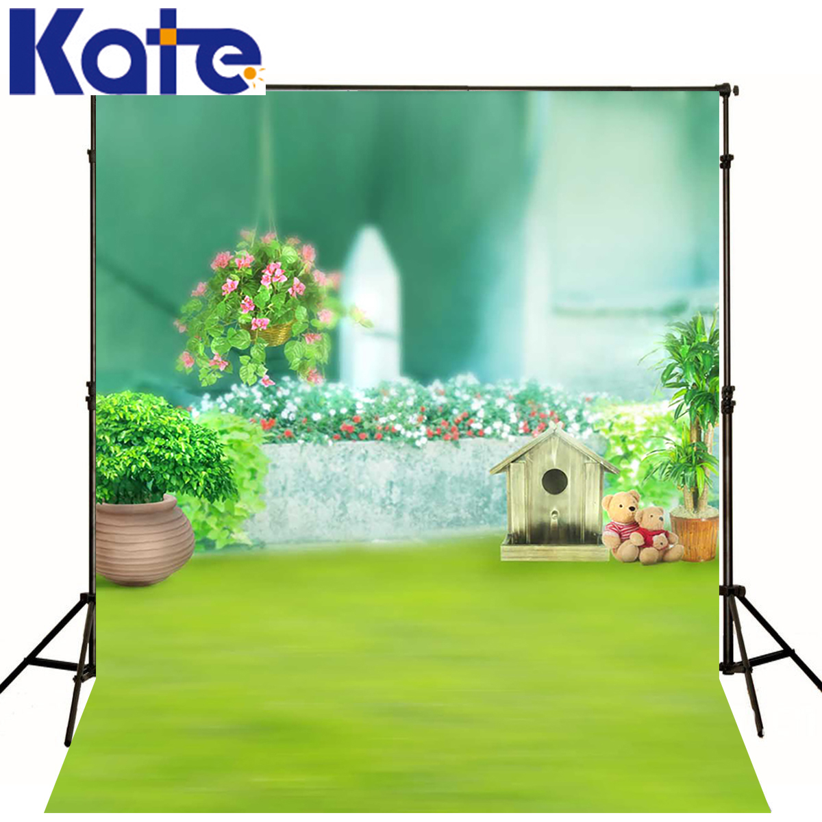 kate photographic background Fuzzy teddy bear grass flowers backdrops boy christmas scenic photocall 10x10ft(China (Mainland))