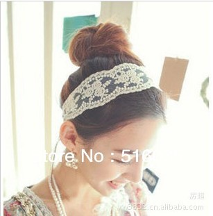 fashion women headband lace flower hair band stylish hair accessory for women 2colors free shipping(China (Mainland))