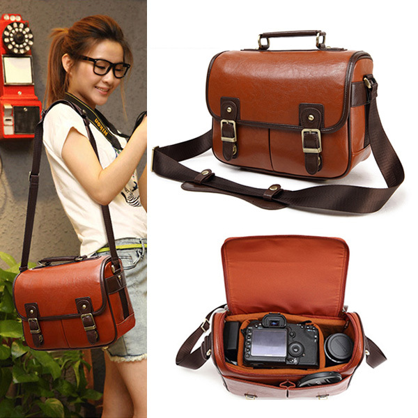 Medium PU Leather Vintage Womens Mens Camera Shoulder Messenger Travel Casual Bag Insert Fit Canon Nikon Sony Pentax DSLR SLR(China (Mainland))