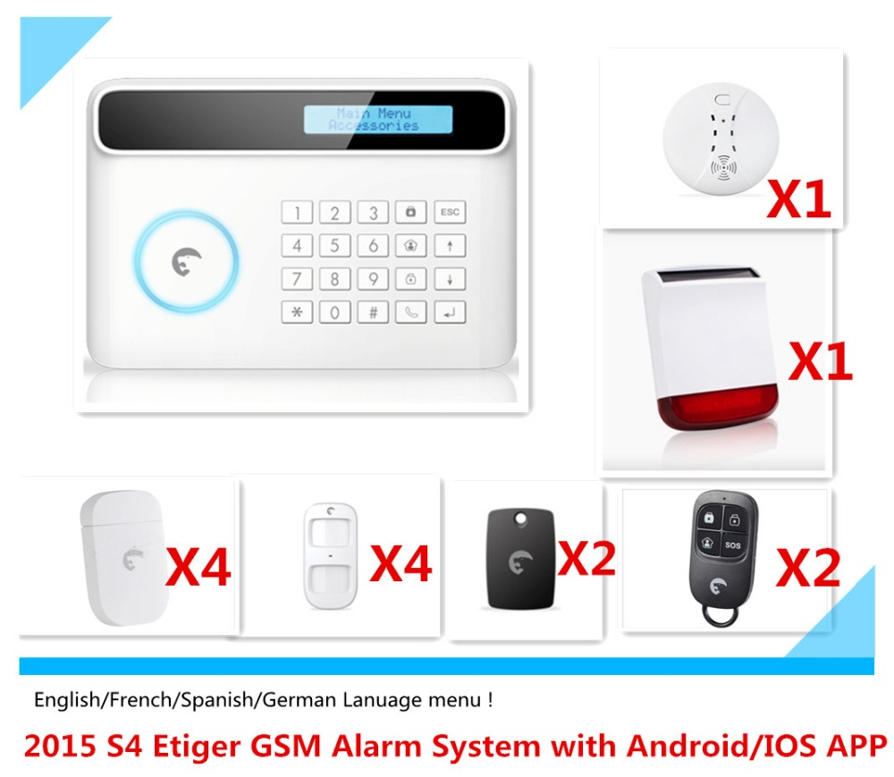 Hot Selling English/French/German/Spainish Language Menu Etiger S4 GSM Alarm System Home Burglar Alarm system with App control <br><br>Aliexpress