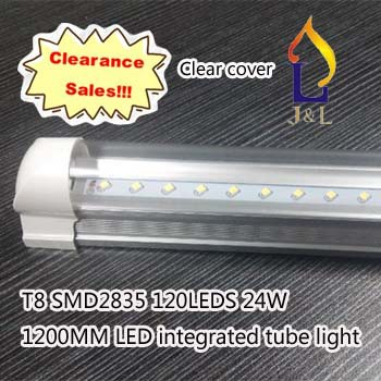 FedEX Free shipping integrated 20W 1200MM, T8 clear cover LED Tube light, SMD2835 96led/PC110v,15pcs/lot(China (Mainland))