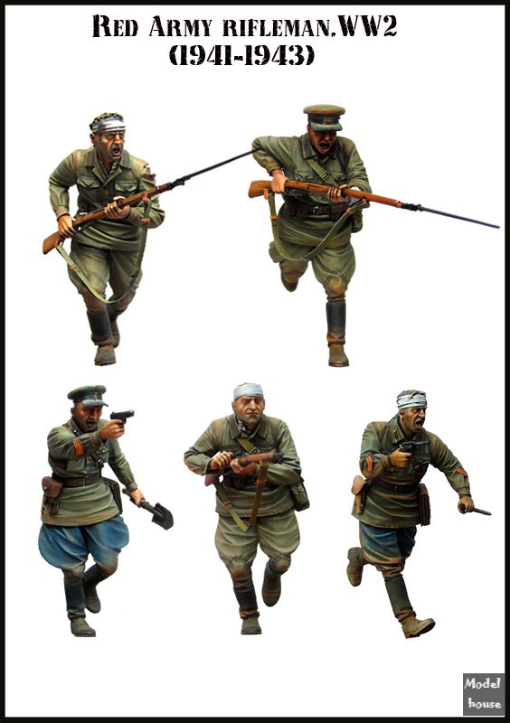 Resin Model EM 1/35 Red Army Riflleman.WW2 (1941-1943) Group 5 People Enough $ 10 Free Shipping(China (Mainland))