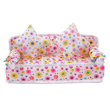 Chic Mini Furniture Flower Soft Sofa Couch With 2 Cushions Miniature Toys For Doll House,plastic dollhouse furniture(China (Mainland))