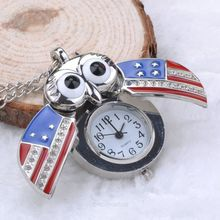 Unique Antique Fashion Alloy Vivid Owl Pocket Watch Pendent Necklace Chain Vintage Fob Watch Active Wings Clock Y55*MHM451#M5(China (Mainland))