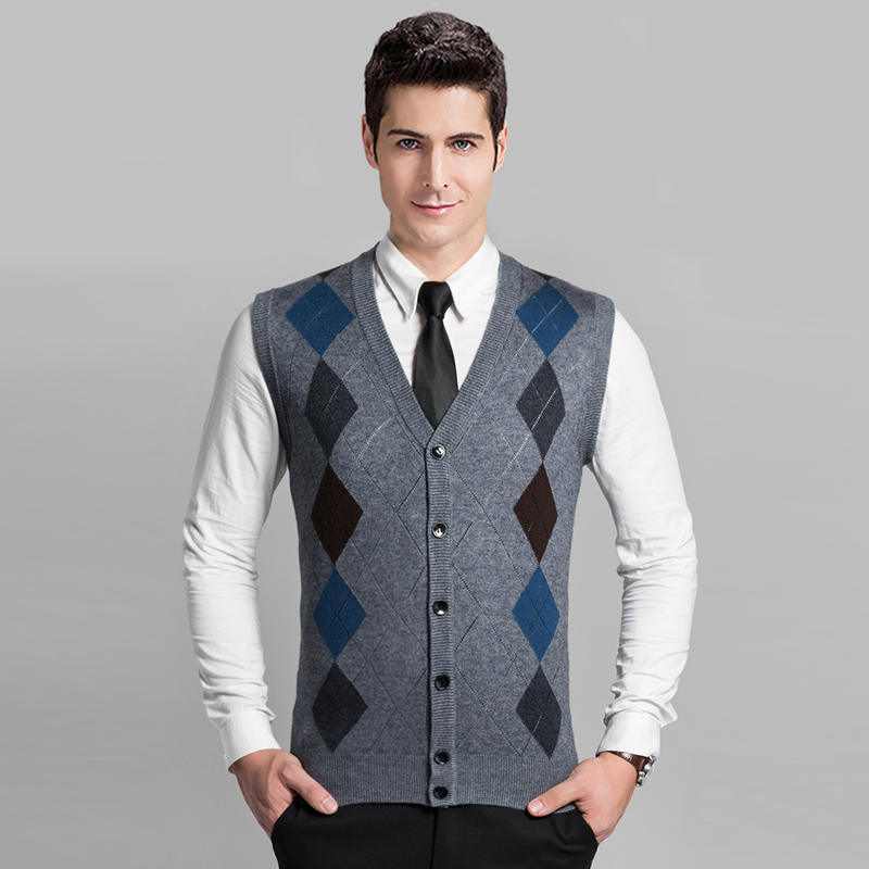 High Quality Mens Autumn Winter Cashmere Sleeveless Argyle Cardigan Sweater Vest