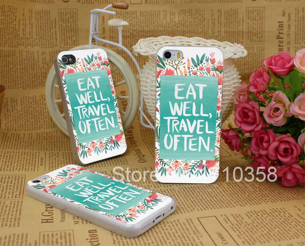 eat well travel often b hellip Hard Transparent Clear Back Style Case Cover for iPhone 7 7 Plus 5 5s 5c 4 4s
