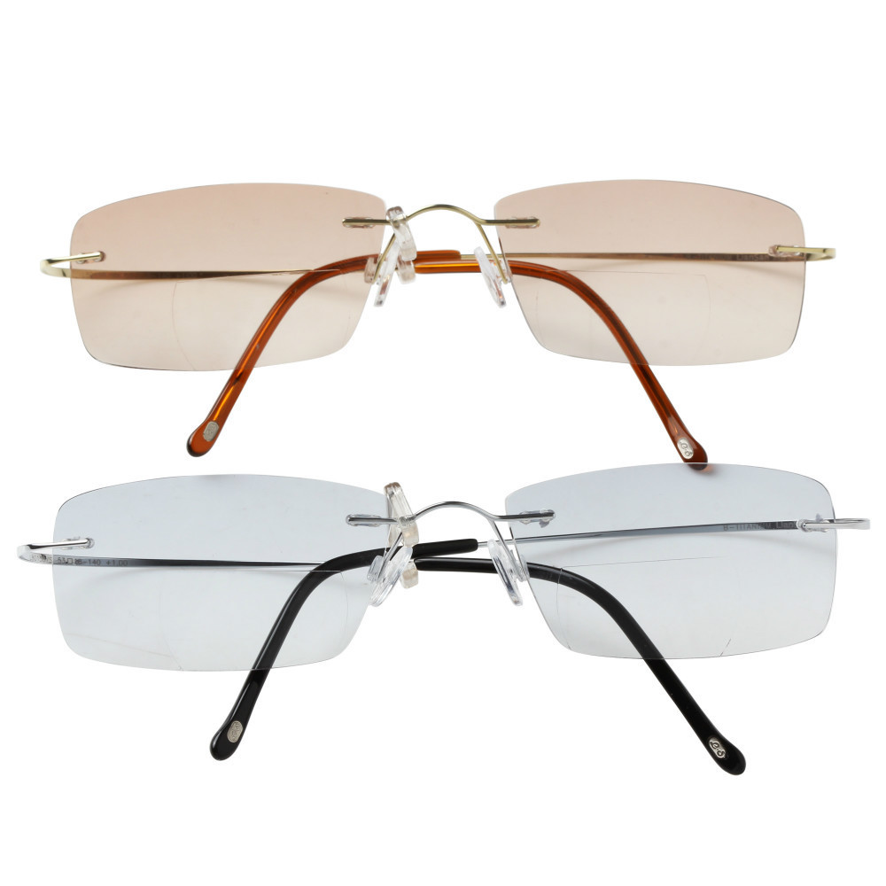 Rimless Bifocal Glasses : Women and Men Rimless Frame Titanium Eye Glasses ...