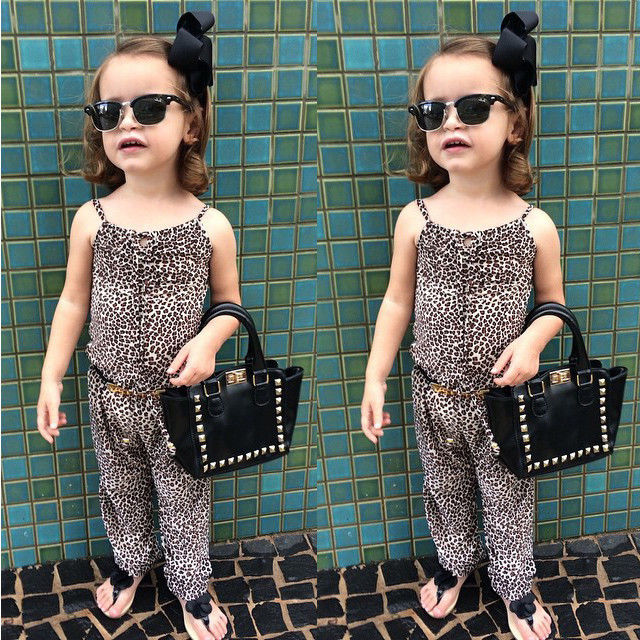 2016 New Girls Kids Clothing Sets Fashion Party Leopard Romper Playsuit Jumpsuit Pants + Belt New Fashion 2 3 4 5 6 7 Years(China (Mainland))