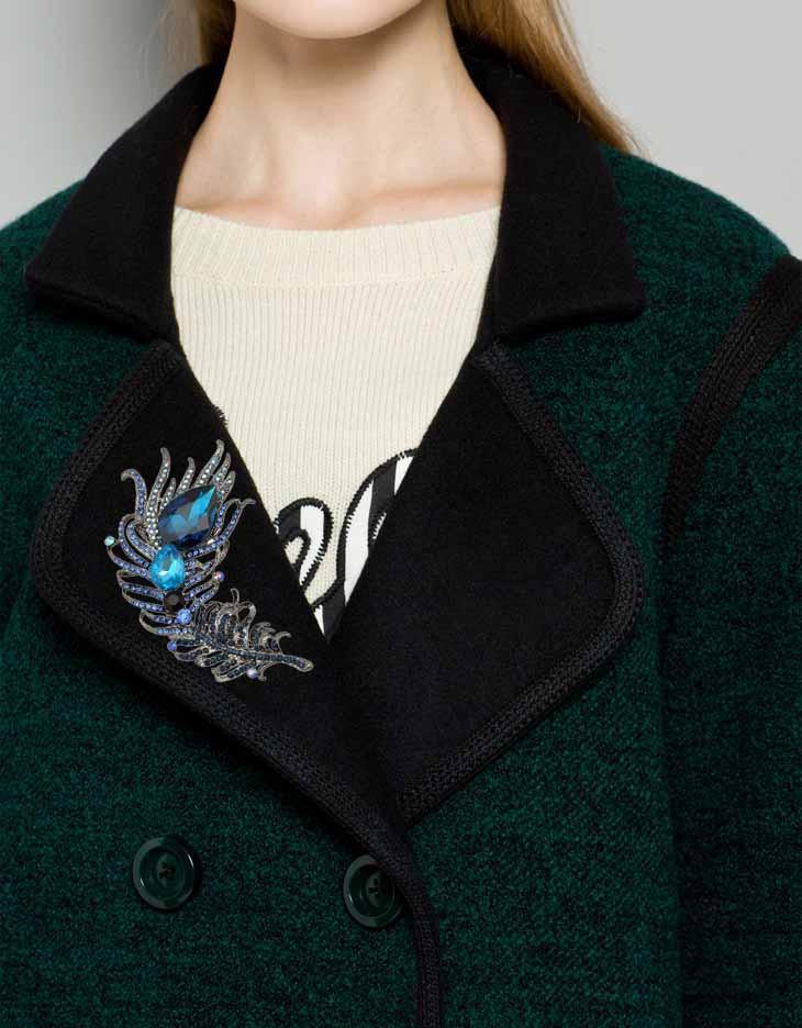6 Colors Optional Metal Feather Brooch Pin Green Blue Crystal Rhinestone Teardrop Women Fashion Jewelry Accessory Gift 2016