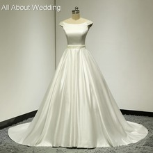 Buy Real Photo Wedding Dresses Ball Gown Satin Pearl Beaded Waist Shoulder Keyhole Back High Factory Custom Make ELS001 for $178.60 in AliExpress store