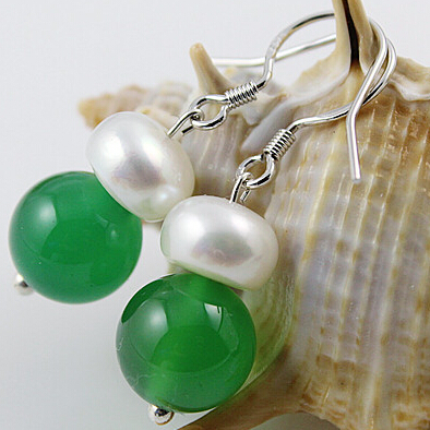Simple Natural Pearl With Natural Agate Earrings Fashion Eardrop Hook Green&Red Agate For Choose(China (Mainland))