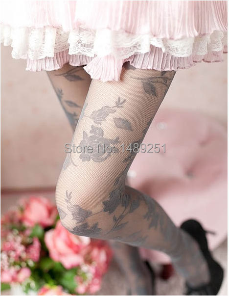 New Fashion Sexy Lace Tights Printed Rosy Knitted Flowers Women Stockings 3 Colors Velvet Sping Summer Autumn Pantyhose(China (Mainland))