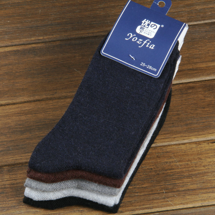 10 pieces of 5pairs 2014 NEW winter warm socks man The rabbit wool socks Men socks to Arrow pure color the extended wool socks(China (Mainland))