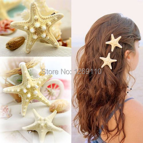 1PC Handmade the diy hairpins natural real starfish side folder top clip duckbill clip hair accessories headdress stay sea n2hv5(China (Mainland))
