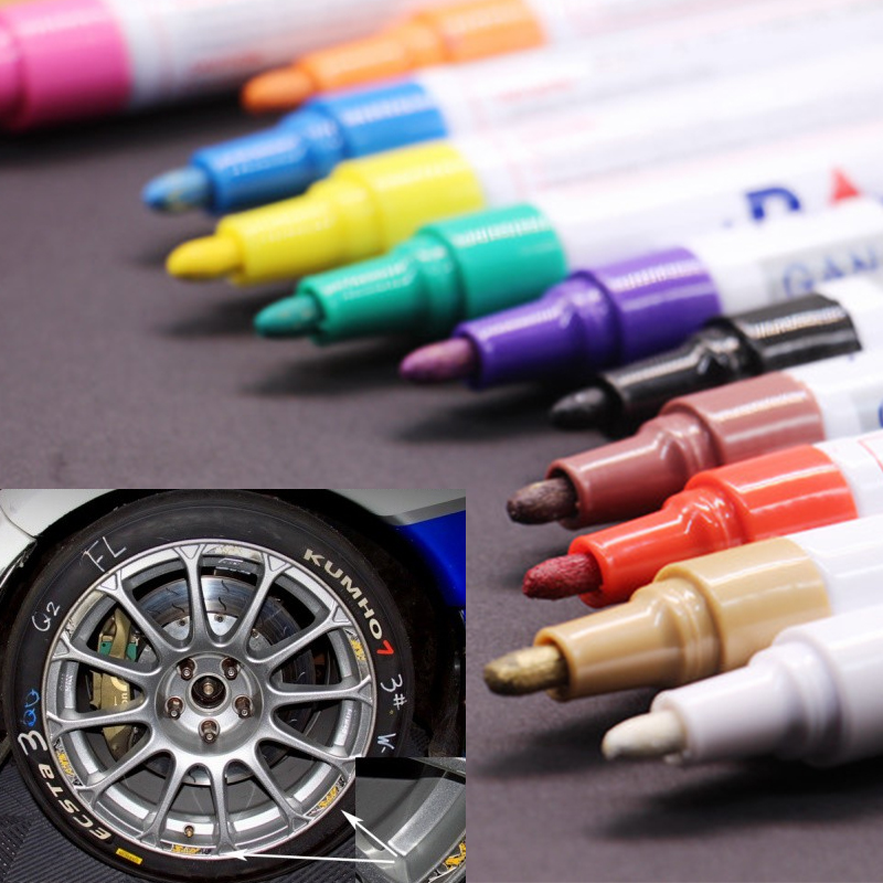 colorful Waterproof pen Car Tyre Tire Tread CD Metal Permanent Paint markers Graffiti Oily Marker Pen marcador caneta stationery(China (Mainland))