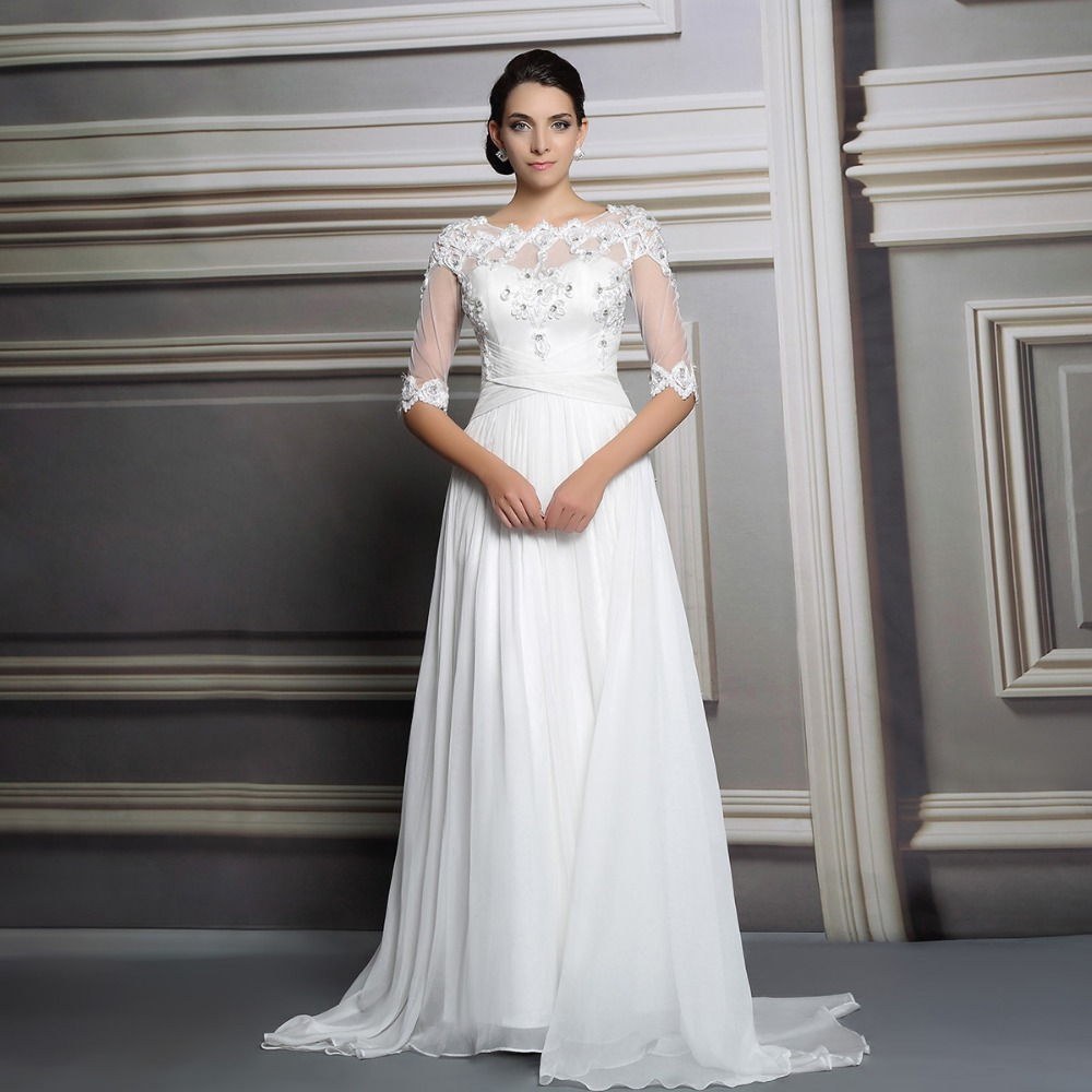 2015 new high grade bridal gown o neck chiffon white for Long sleeve slim wedding dresses
