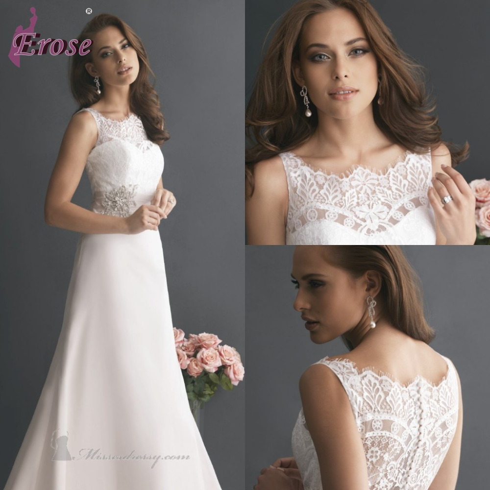 2015 Classical Pure White A-Line Floor-Length Scoop-Neck Sleeveless Tank Lace Satin Wedding Dress Bridal Gown Beaded - TU DRESS STORE store
