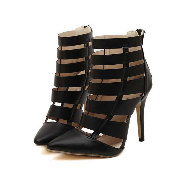 New Trendy Women Gladiator Shoes Pumps Pointed Toe Ladies Heels Cutouts Womens High Heels Ankle Strap shoes gorgeous party Pumps<br><br>Aliexpress