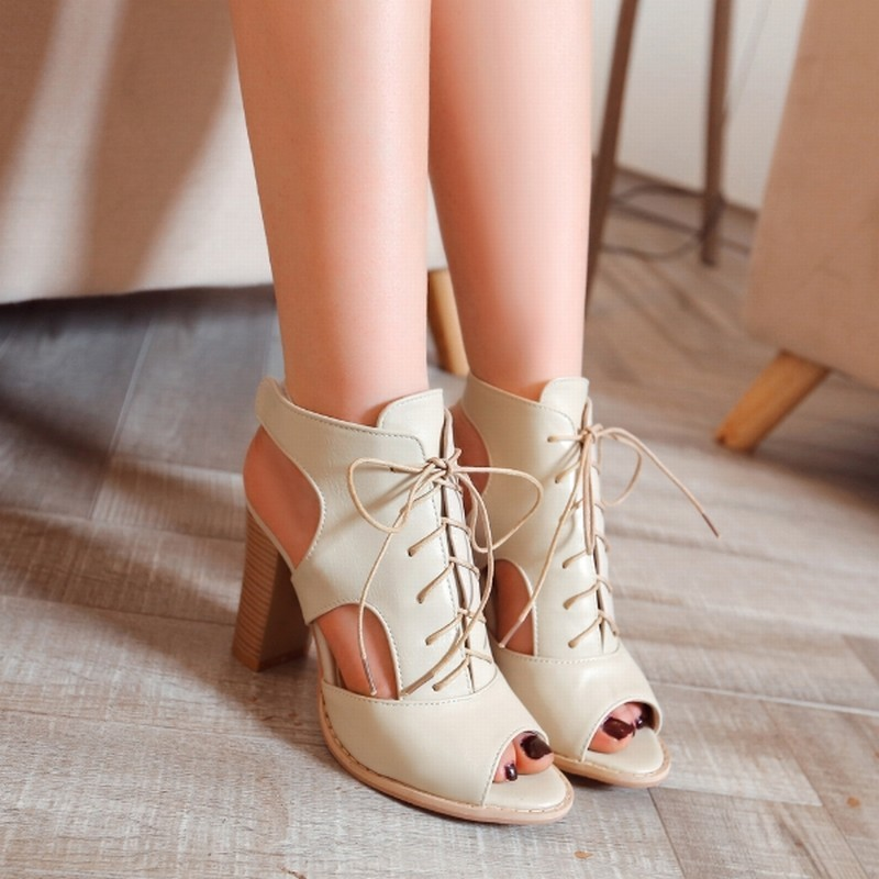 Super Big Size 33-48 Sexy Peep toe Lace up Sandals Rome Slingbacks Cutouts Summer Shoes Woman Thick High Heels Women's Sandals