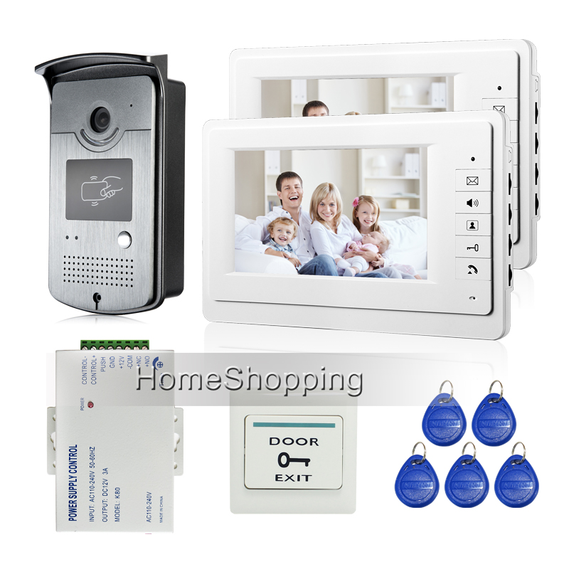 "FREE SHIPPING New 7"" Screen Video Door Phone Intercom System + 2 White Monitors + Night Vision RFID Access Camera + Power Supply(China (Mainland))"
