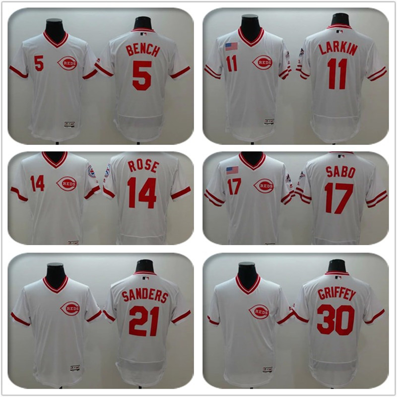 Cheap 2016 Mens #5 Johnny bench #14 Pete rose #19 Joey votto Embroidery Cincinnatis #11 #17 #21 Baseball Jersey 100% stitched wh(China (Mainland))