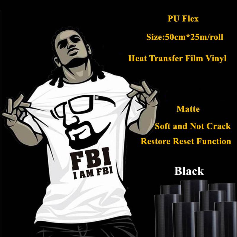 Sticky back black PU heat transfer vinyl heat transfer vinyl roll for garment 50cm*25m/roll(China (Mainland))