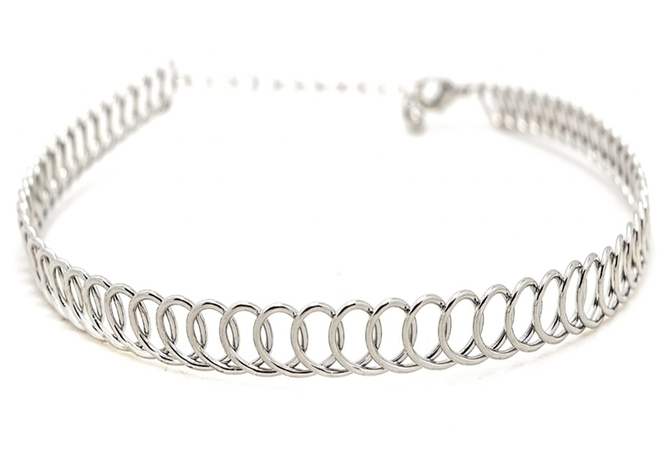 Zinc Alloy Silver Plated Wrap Choker Necklace