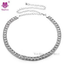 Luxury Rhinestone Chain Belts For Women Dress Accessories Gold&Silver Plated Lady waist Chain Belts Ceinture Femme (BL-445) YK