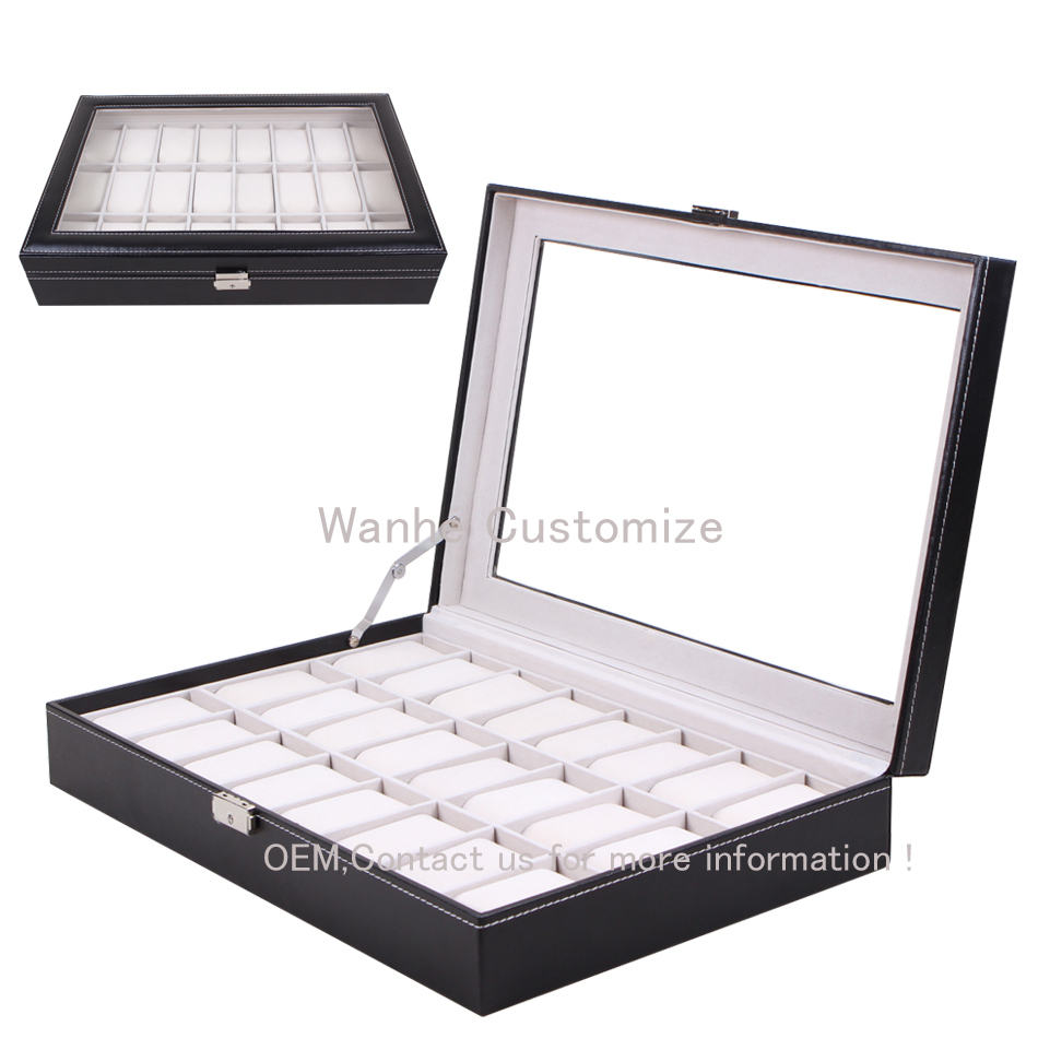 24 Grid Watch Box in Stock Sale Black Leather Window Watches Best for Watches in Fair/Shop/Display/Storage Supplier Grid Boxes<br><br>Aliexpress