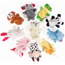 Freeshipping 1pc Baby Plush Toys Cartoon Family Fun Animal Finger Hand Puppet Kids learning & education Toys Gifts baby toys(China (Mainland))