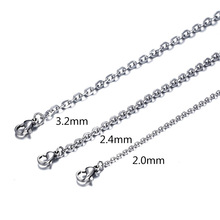 (2MM-3.2MM) 50CM New Fashion Trendy Silver Stainless steel Chains Necklace For Women men Jewelry H0275