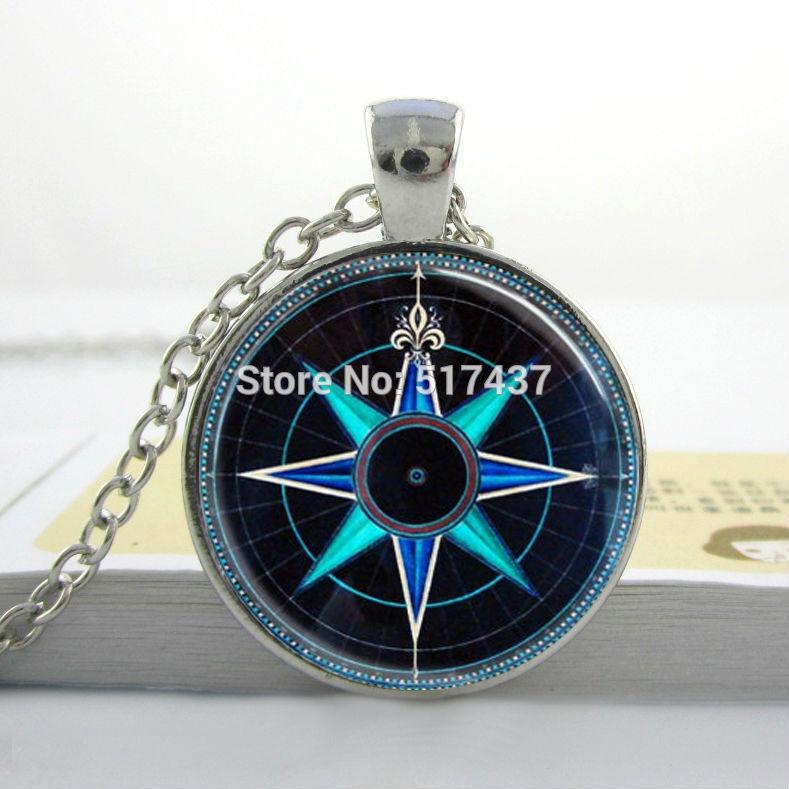 Compass Necklace Compass Rose Necklace Nautical Jewelry Navy Blue and Aqua Art Pendant Glass Dome Necklace Compass Pendant(China (Mainland))