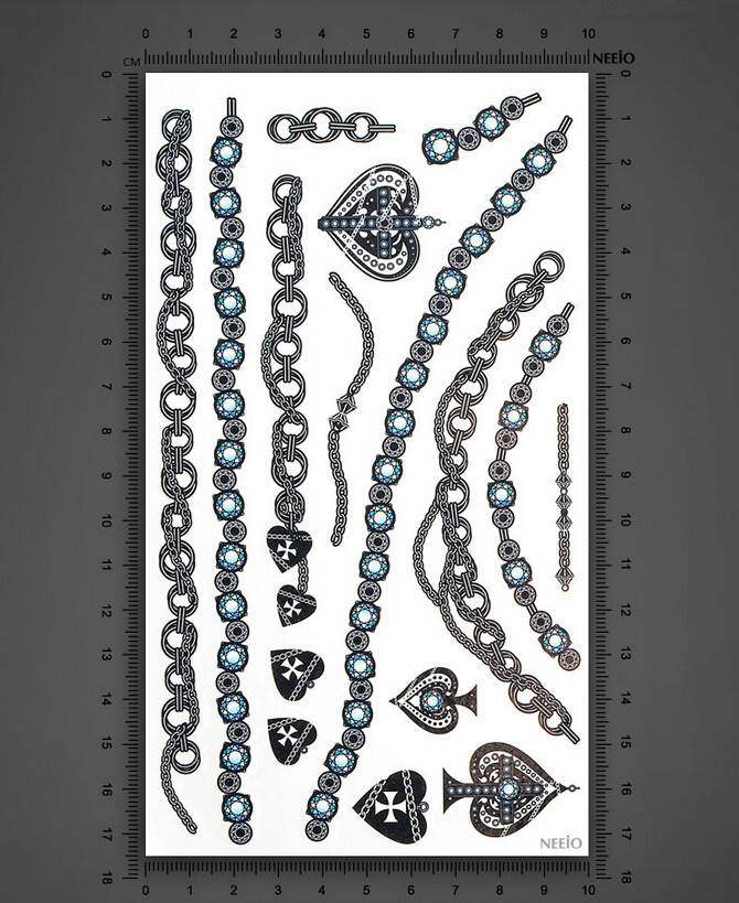 2 pcs lote temporaire autocollant de tatouage bijoux. Black Bedroom Furniture Sets. Home Design Ideas