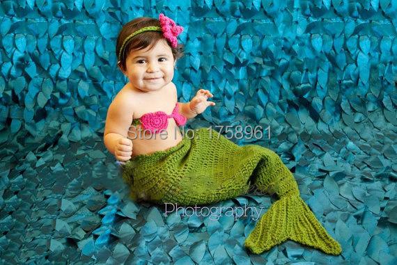 Crochet Mermaid Tail, Bikini Top and Star Fish Headband - Toddler - Photography Prop<br><br>Aliexpress