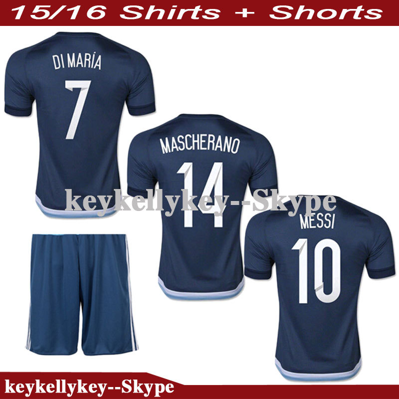2015 16 Men Soccer Jersey Away Embroidery DIY Lionel Messi Kun Aguero Di Maria Lavezzi On Sports Shirt Team Outfit Football Kit(China (Mainland))