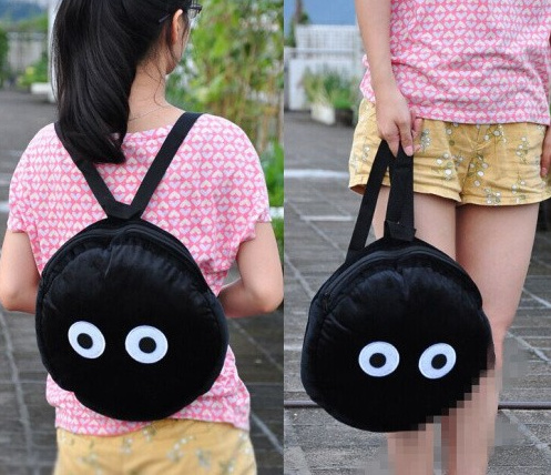 Kawaii TOTORO Blackbunny School Backpack ; SIZE 33*30CM Plush Cotton Lady Girl's Case Backpack Shoulder Pack Sack(China (Mainland))