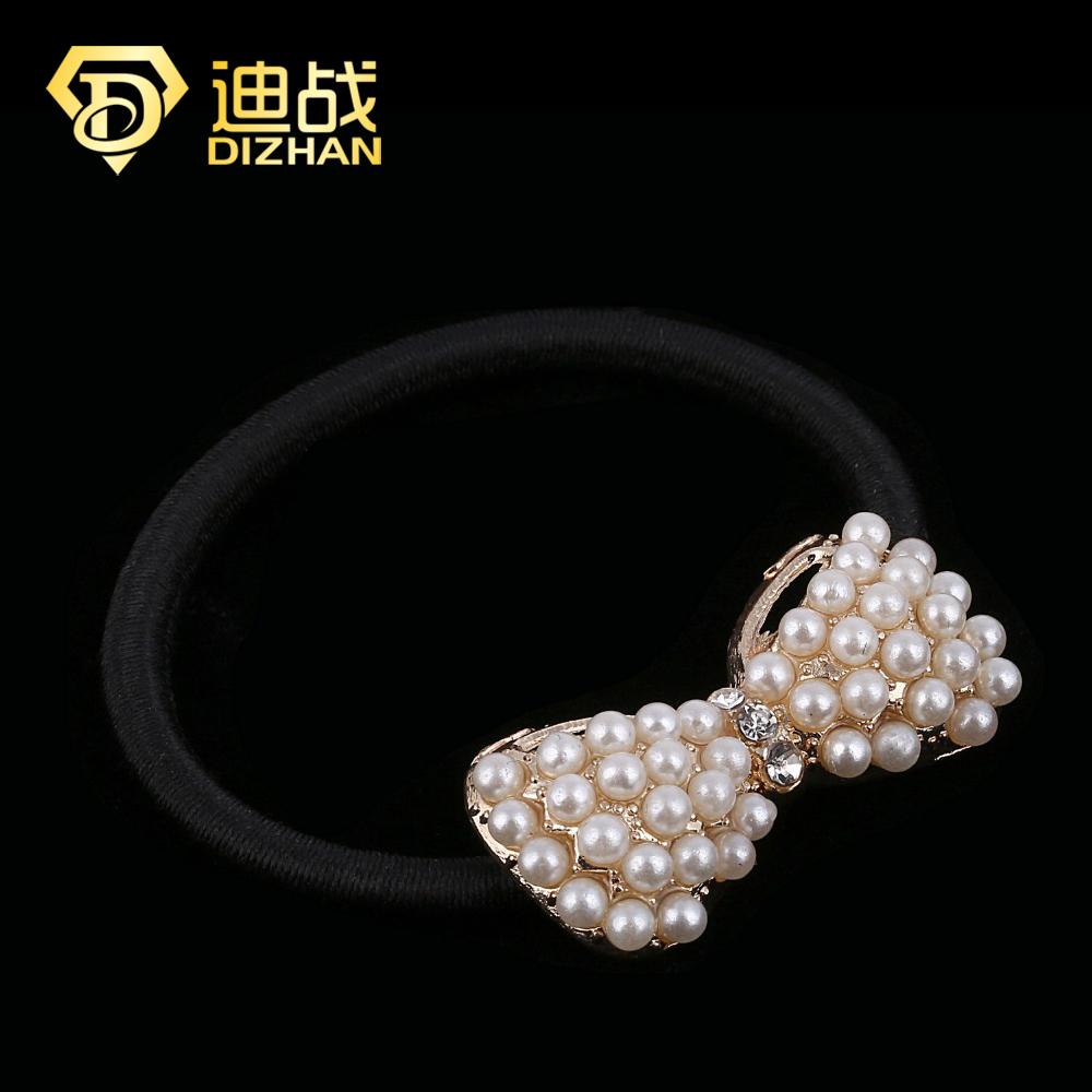 Exquisite hair Accessories Fashion Full Imitation Pearl Bow Bowknot Hair Band Hair Clip Elastic Hair Accessories for girls SF018(China (Mainland))