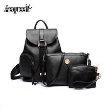 2016 Women Backpack Crossbody Bags Fashion Brand Leather Knapsack Lady Luggage Travel Mochilas+Day Clutches 3PCS Bag Sets(China (Mainland))