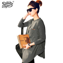 Double puppet Spring autumn Hollow Fashion Loose Blouse European and American Style Long Sleeve Patchwork women Shirt 444008
