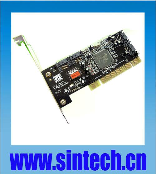 PCI 32bits to 4 ports SATA serial ATA raid controller card converter adapter,chipset SIL 3114(China (Mainland))