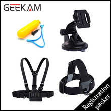 GEEKAM Go pro Accessories Set Float Bobber Chest Belt Head Strap Suction cup For Gopro Hero 4 Session 3 SJ4000 Xiao mi yi Camera
