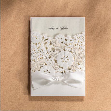 2Romantic White Wedding/Christmas/Party/Birthday Cards Wedding Invitation Card Exquisite Envelope Delicate Carved Pattern - Hangzhou Ever Yuanda Packing Co., Ltd. store